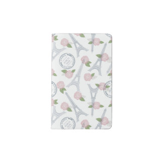 Vintage,paris,floral,pattern,trendy,girly,white, Pocket Moleskine Notebook Cover With Notebook