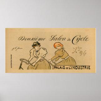 Vintage Paris France 1894 Bicycle Show Poster
