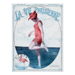 Vintage Paris France Bathing Suit Fashion & Beach Poster
