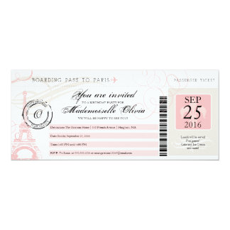 Vintage Paris France Birthday Party Boarding Pass 4x9.25 Paper Invitation Card