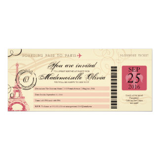 Vintage Paris France Birthday Party Boarding Pass Card