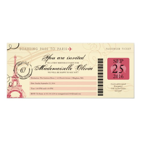 Vintage Paris France Birthday Party Boarding Pass Invitation
