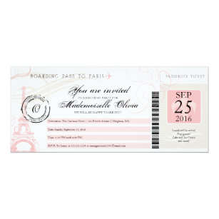 Boarding pass birthday invitations zazzle vintage paris france birthday party boarding pass invitation filmwisefo