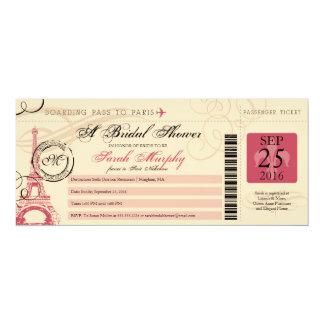 Vintage Paris France Bridal Shower Boarding Pass 4x9.25 Paper Invitation Card