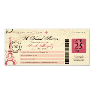 Vintage Paris France Bridal Shower Boarding Pass Card