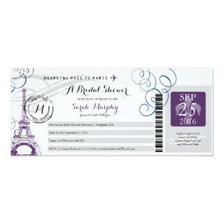 Vintage Paris France Bridal Shower Boarding Pass Card