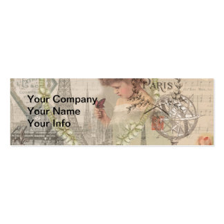 Vintage Paris France Collage Double-Sided Mini Business Cards (Pack Of 20)