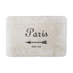 Vintage Paris France Destination Design with Arrow Bathroom Mat
