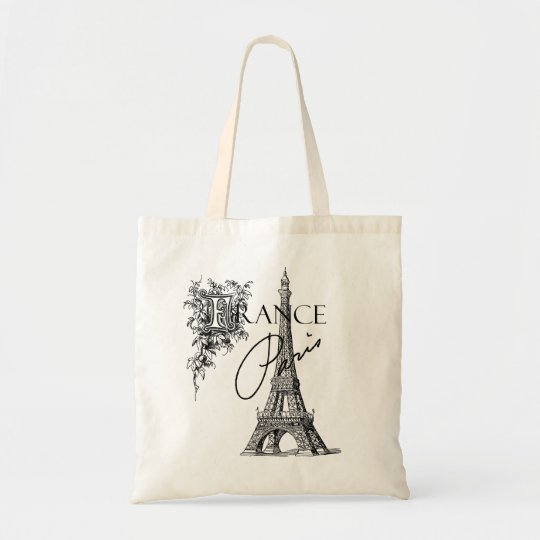 vintage paris france eiffel tower tote bag zazzle. Black Bedroom Furniture Sets. Home Design Ideas