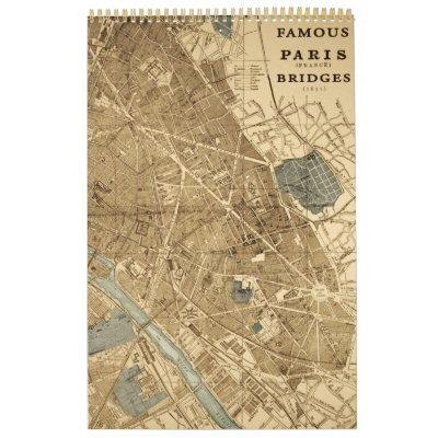Vintage Paris France Famous Bridges Pont Neuf Wall Calendars