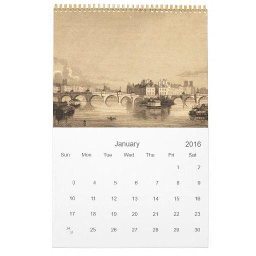 Vintage Paris France Famous Bridges Pont Neuf Calendar