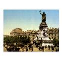 Vintage France, Place de la Republique, Paris postcard
