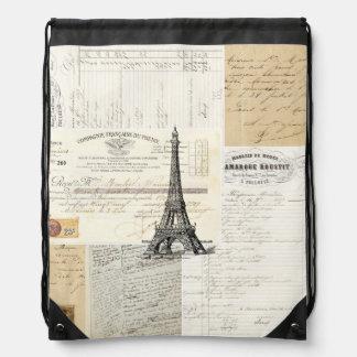 Vintage Paris French Ephemera Drawstring Backpack