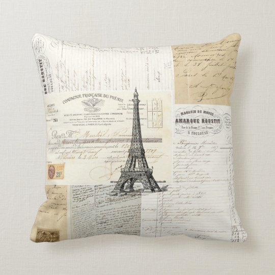 Vintage Paris French Ephemera Pillow