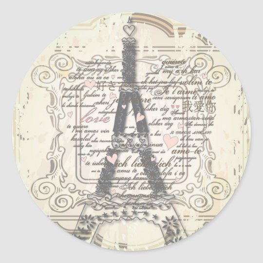 Vintage Paris French Love Gifts Classic Round Sticker
