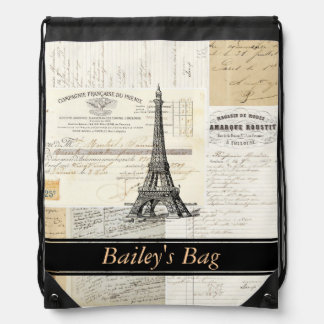 Vintage Paris French Personal Drawstring Backpack