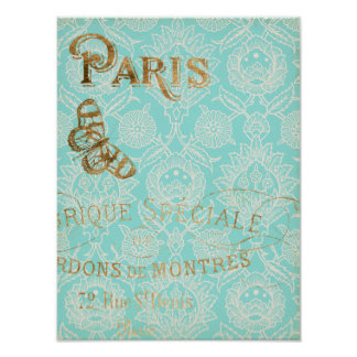 Vintage Paris Gold Design Poster