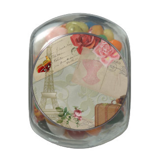 Vintage Paris Graphics Jelly Belly Candy Jar