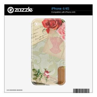 Vintage Paris Graphics Skin For iPhone 4S