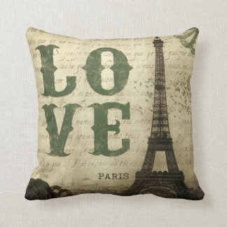 Vintage Paris | Green Throw Pillow