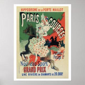Vintage Paris horse races ad Posters