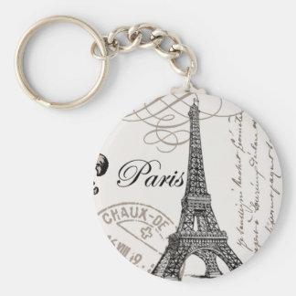 Vintage Paris...keychain Basic Round Button Keychain