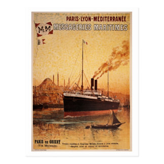 Vintage Paris Lyon Méditerranée ship travel ad Postcard
