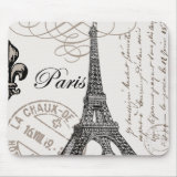 black and white retro elegant and stylish Vintage Paris mousepad Mouse Pad