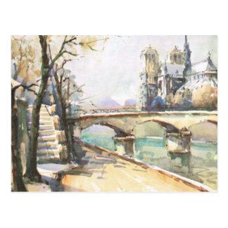 Vintage París, Notre Dame, La el Sena Postales