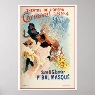 Vintage Paris Opera Theatre Carnival 1894 Poster