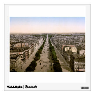 Vintage Paris panorama, Champs-Elysees avenue Wall Sticker