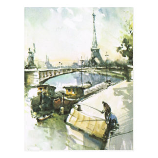 Vintage Paris, Paris Fishing in the Seine Postcard