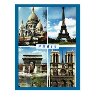 Vintage Paris, Paris Multiview Postcard