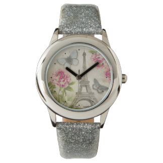 Vintage Paris Peonies Butterflies watch