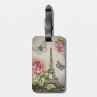 Vintage Paris Peonies Personalized tag Tag For Bags