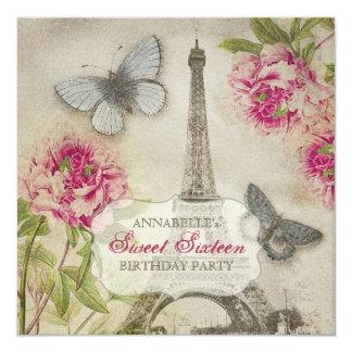 Vintage Paris Peonies Sweet Sixteen Birthday Party Card