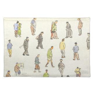 Vintage Paris People Placemat Cloth Place Mat