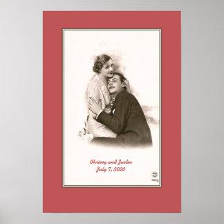 Vintage Paris photo couple hugging customizable Poster
