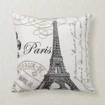 Vintage Paris...pillow Throw Pillow