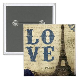 Vintage París Pin Cuadrado
