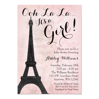 Vintage Paris Pink Black Girl Baby Shower Card