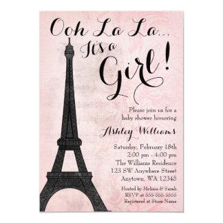 Vintage Paris Pink Black Girl Baby Shower Card
