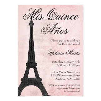 Vintage Paris Pink Black Sweet 15 Quinceanera Card