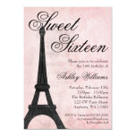 Vintage Paris Pink Black Sweet 16 Birthday 5x7 Paper Invitation Card