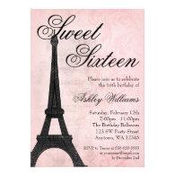 Vintage Paris Pink Black Sweet 16 Birthday Personalized Invite
