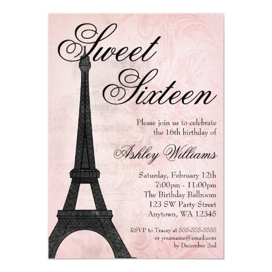 vintage paris pink black sweet 16 birthday invitation zazzle com
