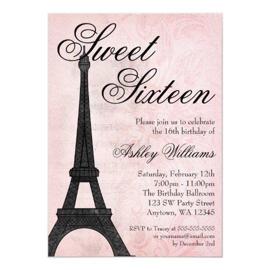 Vintage paris pink black sweet 16 birthday invitation zazzle vintage paris pink black sweet 16 birthday invitation filmwisefo