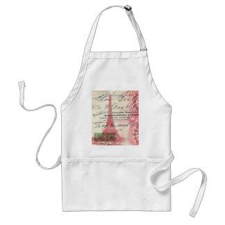 vintage paris pink eiffel tower lace pattern apron