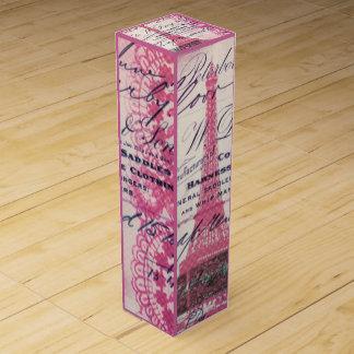 vintage paris pink eiffel tower lace pattern art wine bottle boxes