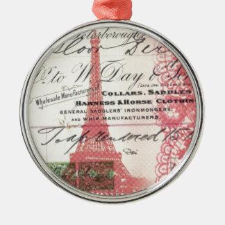 vintage paris pink eiffel tower lace pattern christmas tree ornament